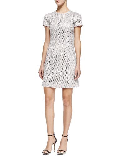 Short-Sleeve Eyelet Dress, Optic White