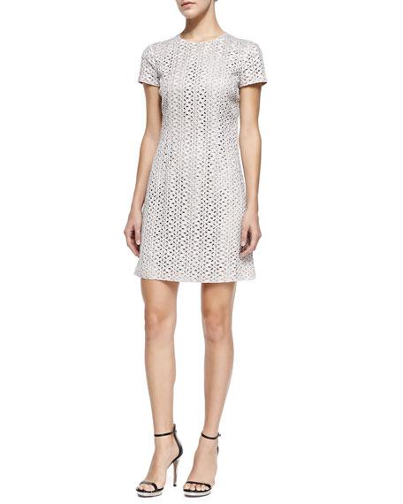 Michael Kors Short-Sleeve Eyelet Dress, Optic White