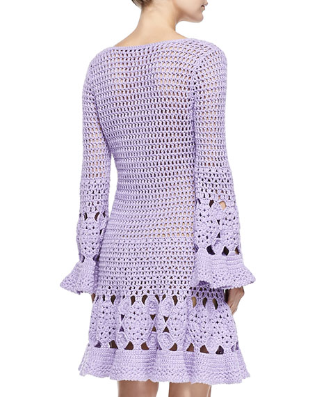 Michael Kors Long Sleeve Floral Hand Crocheted Dress