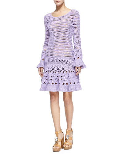 Long-Sleeve Floral Hand-Crocheted Dress
