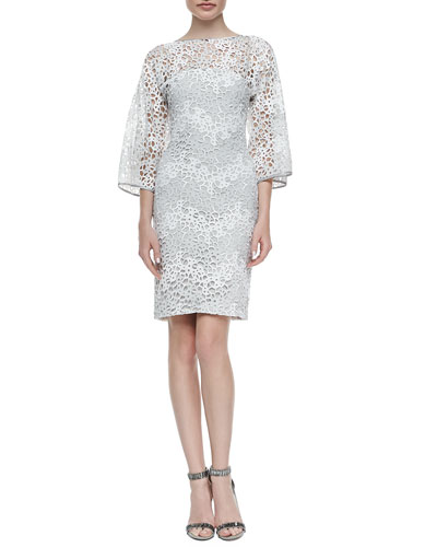 Camelia Lace Kimono-Sleeve Sheath Dress, Gray/White