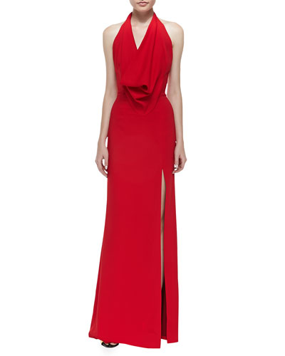 Cowl-Neck Jersey Halter Gown, Red
