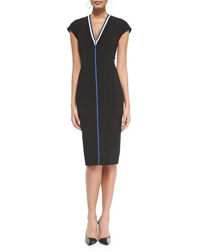 Victoria Beckham Cap-Sleeve Racer Stripe Sheath Dress