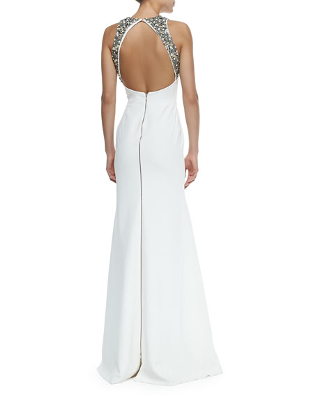 Embellished-Back Flared Column Gown