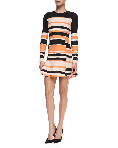 J. Mendel Striped Long-Sleeve Pleated Skirt Dress