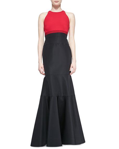 Halter-Neck Contrast Gown, Fuchsia/Noir