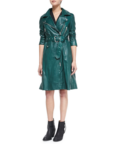 Fit & Flare Leather Trenchcoat
