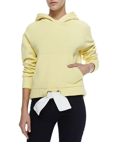 Hooded Sweatshirt with Drawstring-Hem, Citrus Yellow