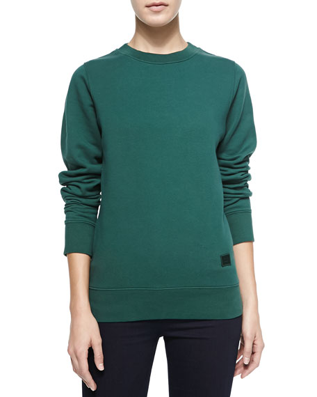 Crewneck Sweatshirt with Emoji Patch, Bottle Green