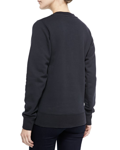 Crewneck Sweatshirt with Emoji Patch, Black