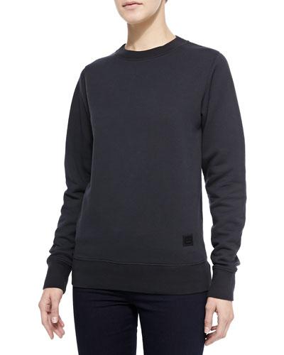 Crewneck Sweatshirt with Emoji Patch, Black