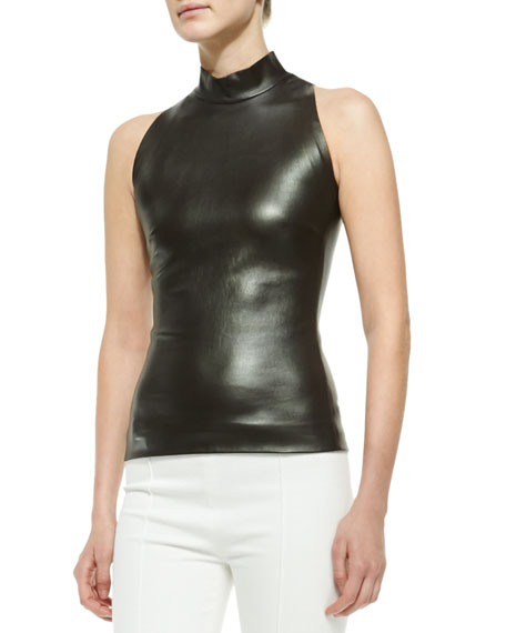 THE ROW Sleeveless Mock-Neck Leather Top