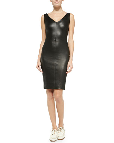 THE ROW Fitted V-Neck Leather Dress, Black