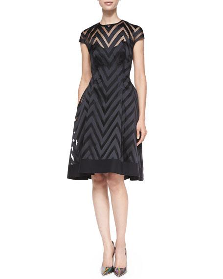 Cap-Sleeve Sheer Zigzag Dress
