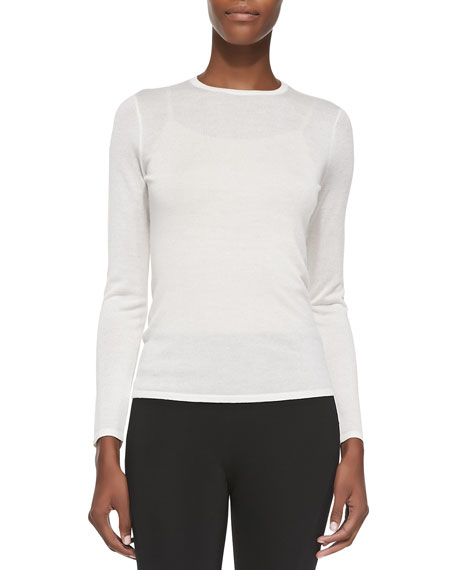 Cashmere-Blend Long-Sleeve Sweater, White