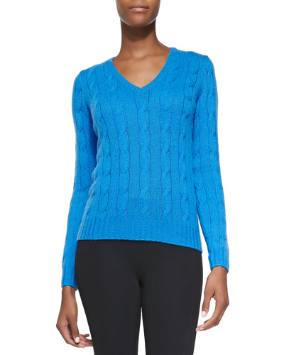 Cashmere Cable-Knit Sweater, Tropical Blue