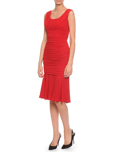 Dolce & Gabbana Surplice Crepe Ruched Dress