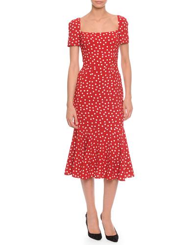 Dolce & Gabbana Square-Neck Midi Flounce Dress, Red/White