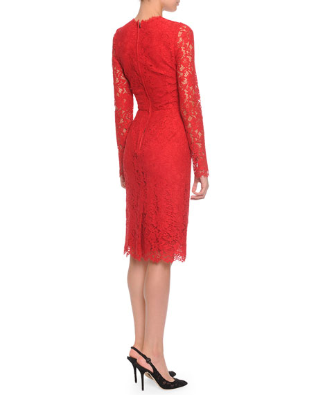 Image 2 of 2: Long-Sleeve Jewel-Neck Lace Dress, Red