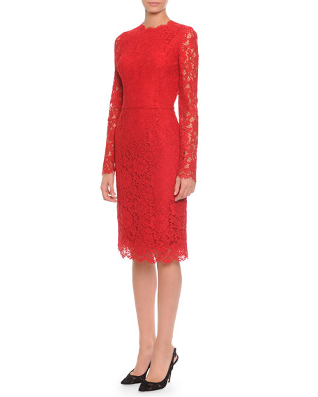 Image 1 of 2: Long-Sleeve Jewel-Neck Lace Dress, Red
