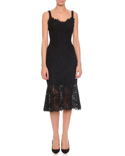 Dolce & Gabbana Strappy Lace Dress with Sheer Flounce Hem