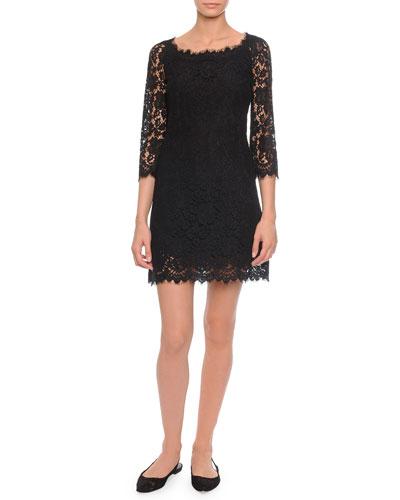 Dolce & Gabbana Soft-Square-Neck A-Line Lace Dress, Black
