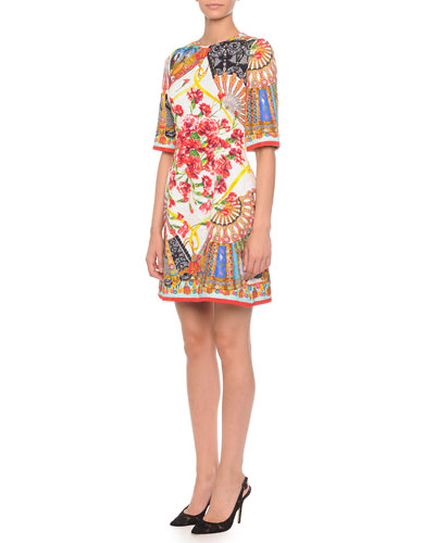 Dolce & Gabbana Fan Brocade A-Line Dress, White/Multi