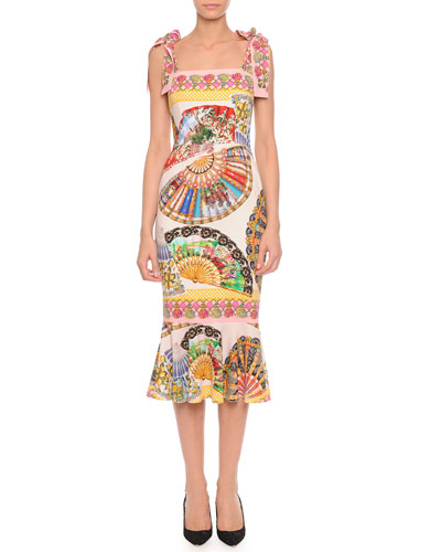 Dolce & Gabbana Tie-Strap Fan-Print Charmeuse Dress, Pink/Multi