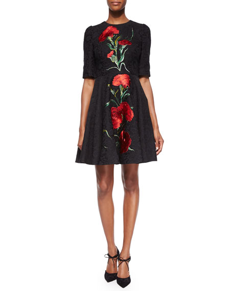 Carnation Embroidered Fit-And-Flare Dress