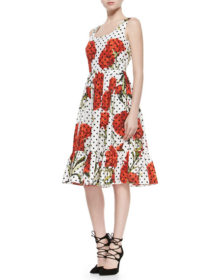 Dolce & Gabbana Tiered Floral/Polka-Dot Cotton Dress