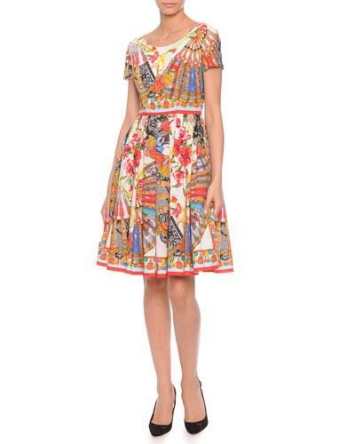 Dolce & Gabbana Fan-Print Pleated Poplin Dress