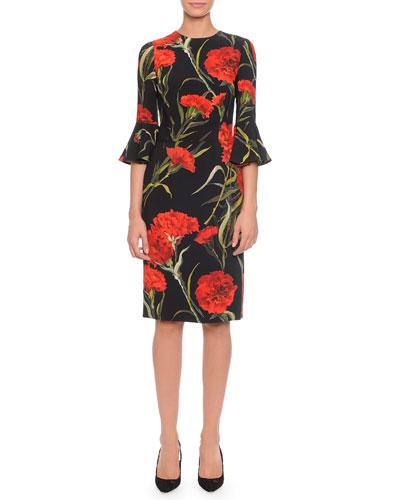 Dolce & Gabbana Bell-Sleeve Carnation-Print Dress, Black/Red