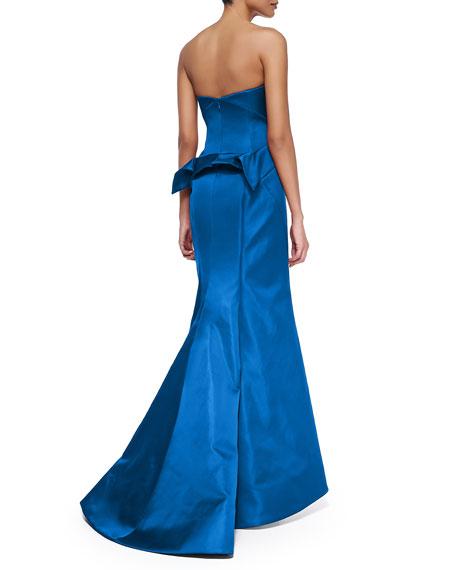 Strapless Split-Peplum Back-Pleat Gown, Cobalt