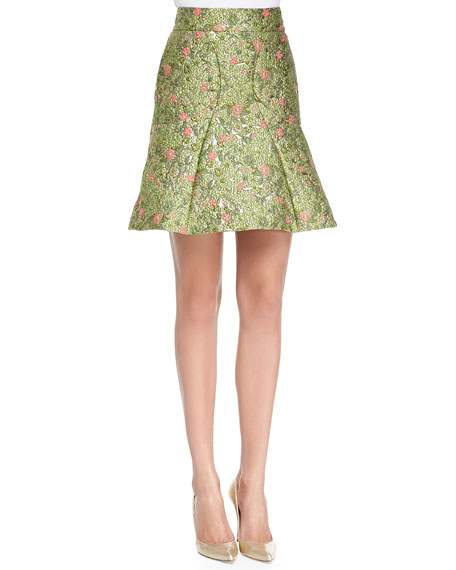 Floral-Jacquard Fit-and-Flare Skirt, Wisley