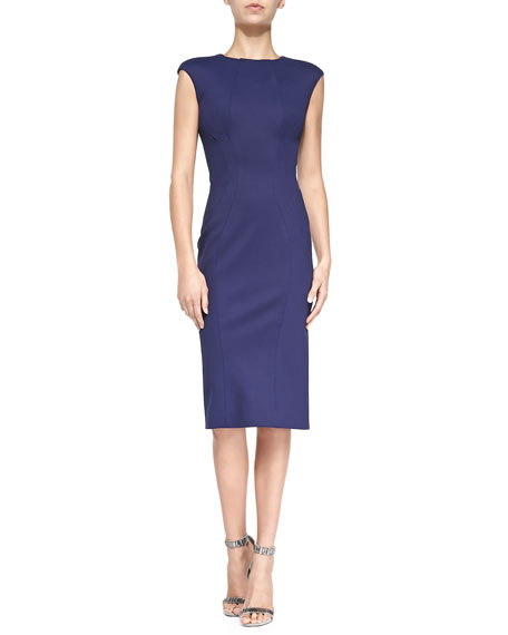 Zac Posen Sleeveless Jewel-Neck Fitted Dress, Navy