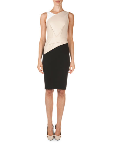 Roland Mouret Arley Colorblock Perforated-Panel Dress, Beige/White/Black