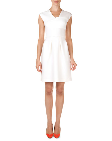 Roland Mouret Bamburgh Folded V-Neck A-Line Dress