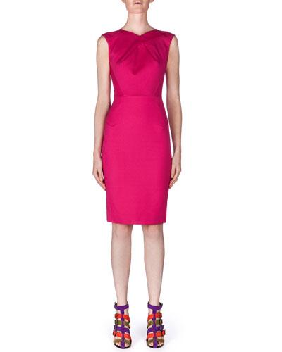 Sesia Darted Pique Knit Sheath Dress, Azalea Pink