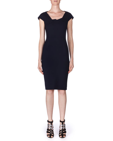 Roland Mouret Hirta Tuck-Pleated Ponte Dress, Navy