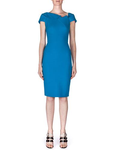 Lepas Fold-Pleated Crepe Dress, Bright Blue