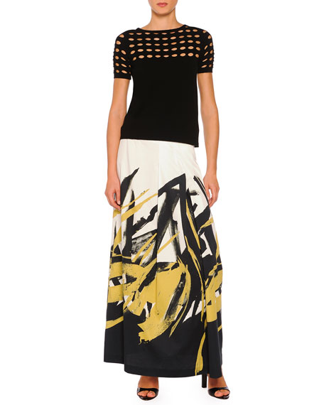 Brushstroke-Print Pleated Long Skirt, Black/Ochre