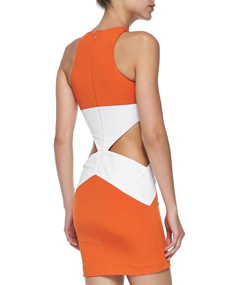 Geometric Colorblock Cutout Sheath Dress