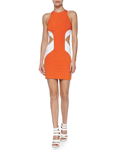 Geometric Colorblock Cutout Sheath Dress