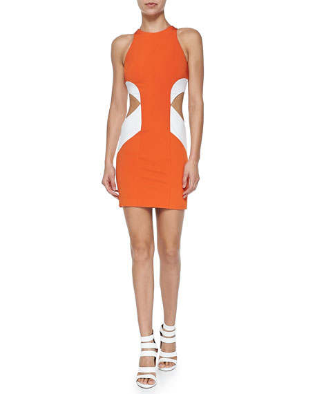 Cushnie et Ochs Geometric Colorblock Cutout Sheath Dress