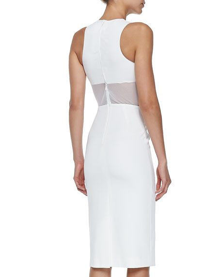 Mesh-Overlay Sheath Dress with Crop-Top Illusion