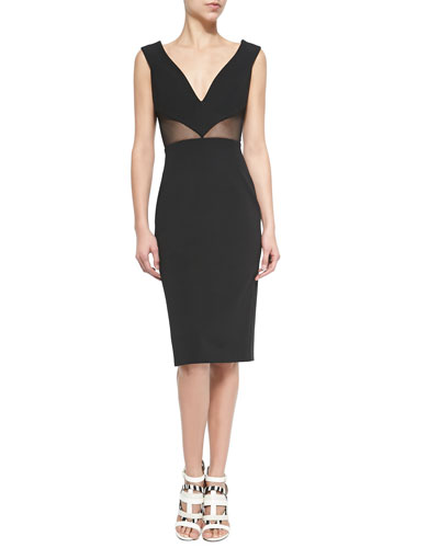 Deep V-Neck Mesh-Inset Sheath Dress, Black