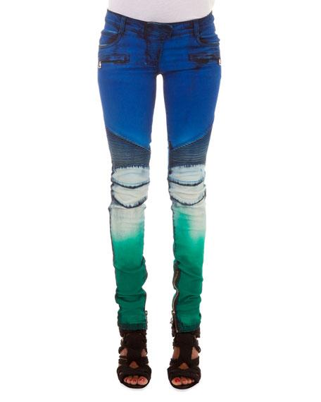 Balmain Slim-Fit Tie Dye Moto Jeans, Blue/White/Green