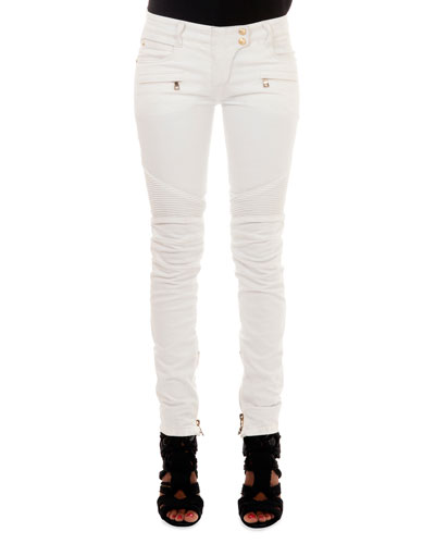 Slim-Fit Moto Jeans, White