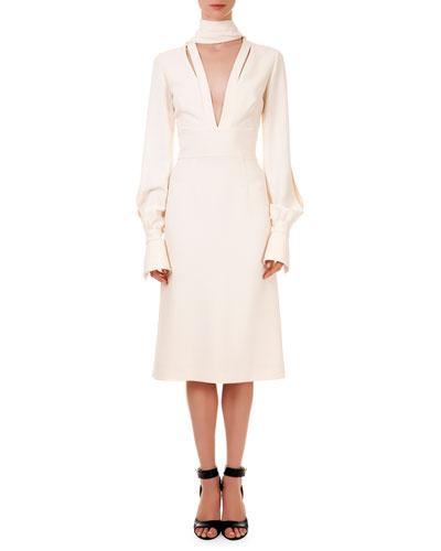 Slit-Front Scarf Crepe Dress