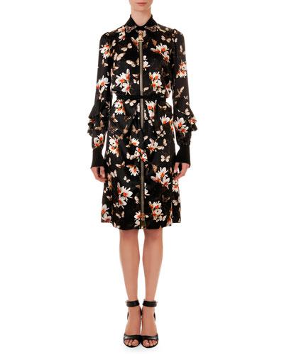 Oversize-Zipper Floral-Print Shirtdress